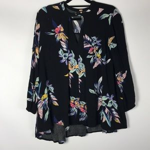 Free People  Black/ Flowers Size S